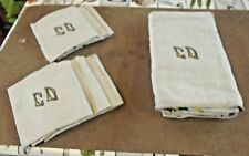 Ancien Lot Nappe + 6 serviettes toile initial C.D.