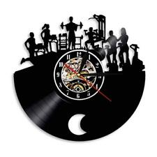 Gym 3D Wall Clock Hanging Fitness Sport Vinyl Record Clock Modern Design Decor