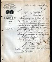 """PARIS (II°) USINE à BOHAIN (02) d'ETOFFES pour AMEUBLEMENT """"BOYER & Cie"""" en 1895"""