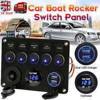 12V 24V Fuse Box 2 USB Control Panel Charger Socket Motor Boat Marine Camper UK