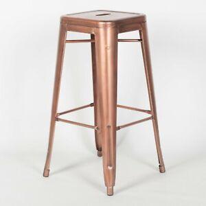 TOLIX INSPIRED METAL BAR STOOL VINTAGE COPPER INDUSTRIAL BREAKFAST CAFE GARDEN