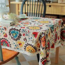 Bringsine Vintage Square Cotton Linen Lace Sun Flower Tablecloth Washable Dinner