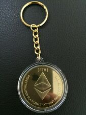 SALE Gold Plated Ethereum Keychain, ETH Coin Key Rings Novelty Coin, UK Seller