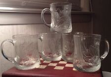 Arcoroc France Clear Embossed Floral Design Glass Mugs~~Vintage~~Set Of 5~SALE