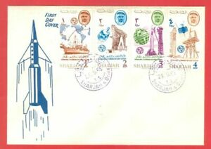 UAE Sharjah Topic SPACE 4 diff stamp on FDC Cover  1965