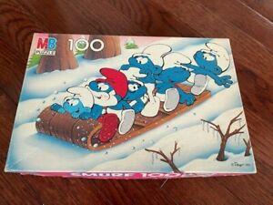 Vintage 1983 SMURFS 100 Piece Puzzle 4190-3 Winter Sledding Fun COMPLETE w/ BOX