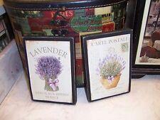 Paris vintage Lavender Carte Postale wall decor block sign Shabby Cottage Chic