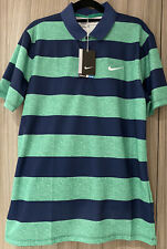 Nike Golf Shirt Victory Green /Navy Stripe Brand New Unused With Tags Size Small