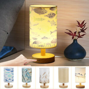 Wooden Touch Dimmer Table Lamp Modern LED Chrome Lampshades 3W 5V Home Bedroom