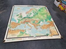 RARE Large Vintage Mid Century Europe 1967 10th ed Wenschow  Wall School Map