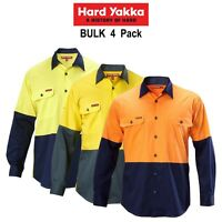 Mens Hard Yakka Koolgear 4 Pk Hi-Vis Long Sleeve Work Shirt Vented Light Y07558