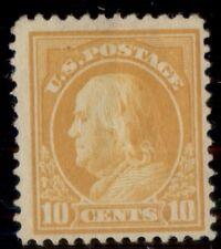 US #416, 10¢ orange yellow, og, LH, fresh and F/VF, Scott $37.50