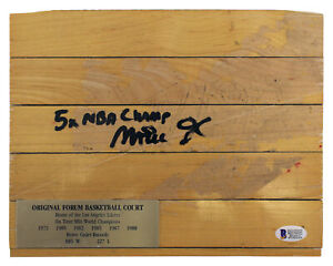 """Lakers Magic Johnson """"5x NBA Champ"""" Signed 8x10 Forum Floorboard BAS Witnessed"""