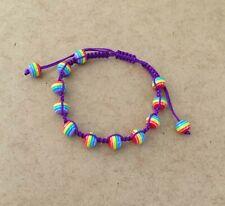 Pride Rainbow Multi Color Beads Purple Macrame Cord Friendship Bracelet