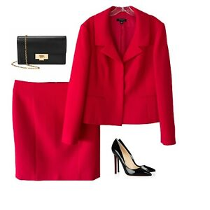 ANN TAYLOR WOOL RED LINED BEAUTIFUL 3 BUTTON SKIRT SUIT SZ 16 NWOT