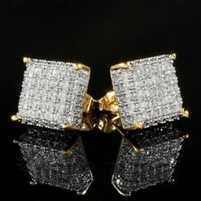 Diamond Micropave Square Stud Earring 8G 18K Gold Bling Out Iced Aaa Lab
