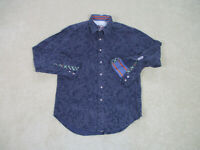 Robert Graham Button Up Shirt Adult Medium Purple Flip Cuff Long Sleeve Men A96