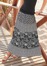 TOGETHER 14 BNWT Black White Print Tiered Maxi Skirt