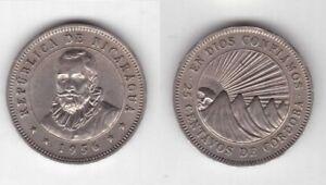 NICARAGUA - RARE UNC 25 CENTAVOS COIN 1956 YEAR KM#18.1