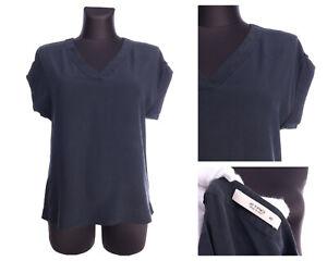 ETRO Italy Black 100% Crepe Silk SS V-Neck T-Shirt Size 42