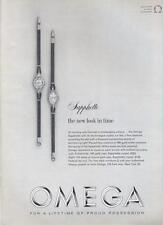 1962 Omega Sapphette PRINT AD details two beautiful Diamond & Gold watches