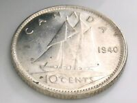 1940 Canada Ten 10 Cent Silver Dime Uncirculated Canadian George VI Coin I520