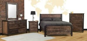 Amish 5-Pc Bedroom Set Rustic Industrial Solid Wood Black Metal Posts Queen King