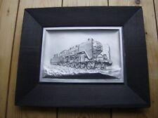 Antikes Wandbild Dampflok aus Metall/Silber 3 D Optik/erhaben - vintage !!!!