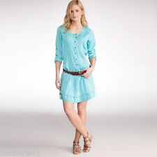 La Redoute womans TURQUOISE blue flounced tunic style dress UK 12 EU 40 NEW