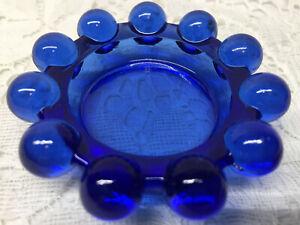 Blue Vaseline glass candlewick Cobalt salt cellar / candle votive holder uranium