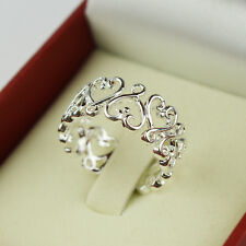925 Silver Plated Opening Ring Rings Wedding Women New Fashion Love Valentine