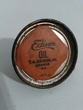 Vintage Edison Oil Tin Can Orange NJ 4830 T.A. Edison INC. Cork Top