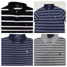 Polo Ralph Lauren Men's Custom Fit Polo Shirt Striped Mesh Cotton Short Sleeve