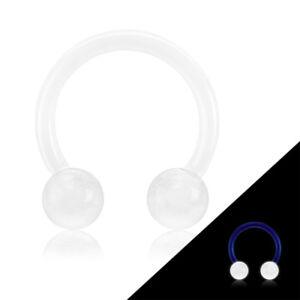 PAIR Glow in Dark Flexible Circular Barbells Septum Eyebrow Nipple Tragus Ring