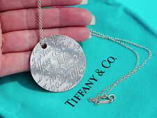 Tiffany & Co Fifth Avenue Notes LARGE Circle Sterling Silver Pendant Necklace
