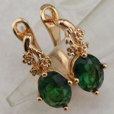 Lovely Oval Emerald Green Jewelry Yellow Gold Filled Huggie Woman Earrings h2878