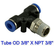 "5pcs Branch Tee 3 Way Connector Tube OD 3/8"" X NPT 3/8"" Quick Release Fitting"