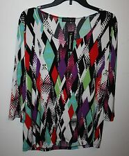 TRAVEL ELEMENTS PRINTED SCOOP NECK TOP Womens Size M 3/4 Sleeve MSRP $72 NEW NWT