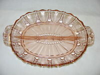 Vintage Pink Depression Glass Hocking Divided Relish Tray Oyster & Pearl Pattern