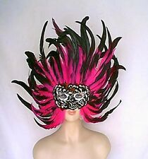 "Giant 17"" Tall Hot Pink + Black Feathers Face Mask w Silver Sequins Handmade"