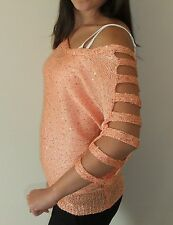 Dusty Peach Cutout Sequined Sweater, Arden B, Size S