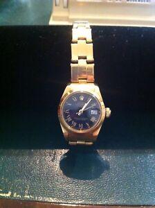 Rolex Oro Lady DateJust, mov. automatico, bracciale Oyster + scatola originale-