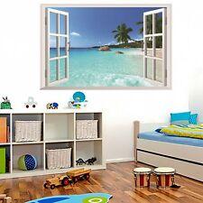 Windows Seaview Hawaii Dimensional Wall Sticker paper Living Room Decoration 3D