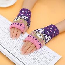 Fashion Girl Boys Unisex Knitted Mitten Fingerless Soft Warm Gloves Wrist Warmer