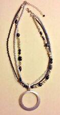 "Premier Designs Jewelry NIGHT LIFE 3-Strand Silver & Black 17 1/2"" + 2"" Necklace"
