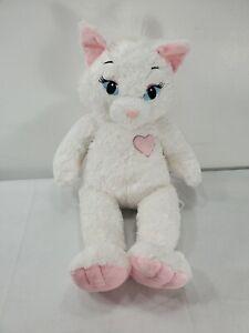 "Marie Aristocats Build A Bear Plush White Cat 19""  Sassy Kitty Pink Heart"