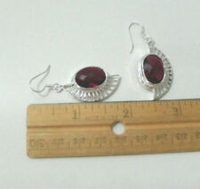 girl simulated red gemstone crescent dh10 earrings silver plated hook 925 women