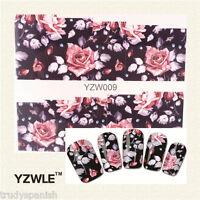 Nail Art Water Decals Wraps Pretty Black Dusty Pink Flowers Gel Polish (YZW09)