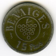 ☆ ☆ SPAIN ☆ OLD TOKEN • 15 PESETAS • BENAIGES ☆ BORNE • BARCELONA ☆ JETON ☆C2434
