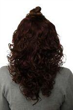 Postiche Demi-Perruque Clip-In Extensions Cheveux Boucles Brun Acajou 40cm